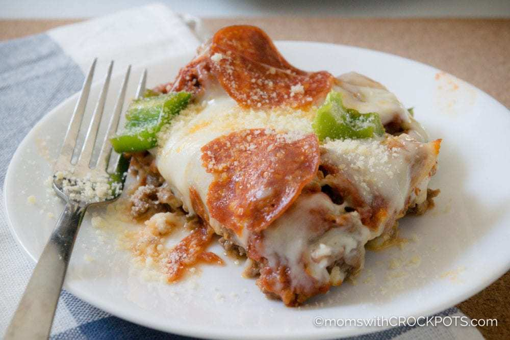 Crockpot Crustless Pizza on plate