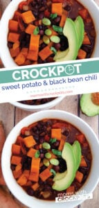 A perfect filling vegan chili option! This delicious Crockpot Sweet Potato and Black Bean Chili is hearty and full of flavor! | @MomsWCrockpots #crockpot #slowcooker #vegan #vegetarian #chili #dinner