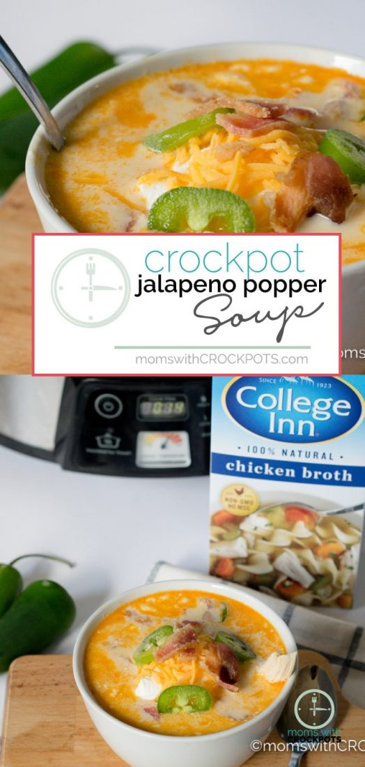 This simple slow cooker soup really packs a punch of flavor! Try this delicious Crockpot Jalapeno Popper Chicken Soup Recipe! Great for game day or any day! #Crockpot #slowcooker #chicken #Soup #recipes #keto #dinner
