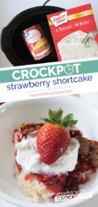You have to try this crazy simple Crockpot Strawberry Shortcake Recipe! All of the warm strawberry over a light a fluffy cake made right in your slow cooker! | @MomsWCrockpots #dessert #recipes #crockpot #slowcooker #strawberry