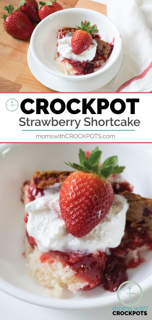 You have to try this crazy simple Crockpot Strawberry Shortcake Recipe! All of the warm strawberry over a light a fluffy cake made right in your slow cooker! #crockpot #dessert #recipes #strawberry #slowcooker
