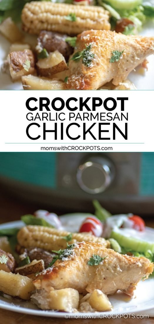 Looking for an all in one crockpot meal that your family will love? Check out this delicious and simple to make Crockpot Garlic Parmesan Chicken & Potatoes Recipe! #crockpot #slowcooker #chicken #dinner #glutenfree #healthycrockpot