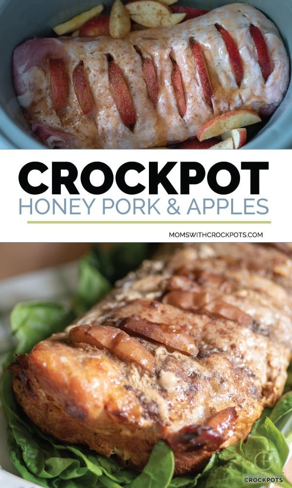 Easy to make and sure to please! This Crockpot Honey Pork & Apples Recipe is a tasty way to cook pork roast. Gluten Free and Simple whole ingredients! YUM!