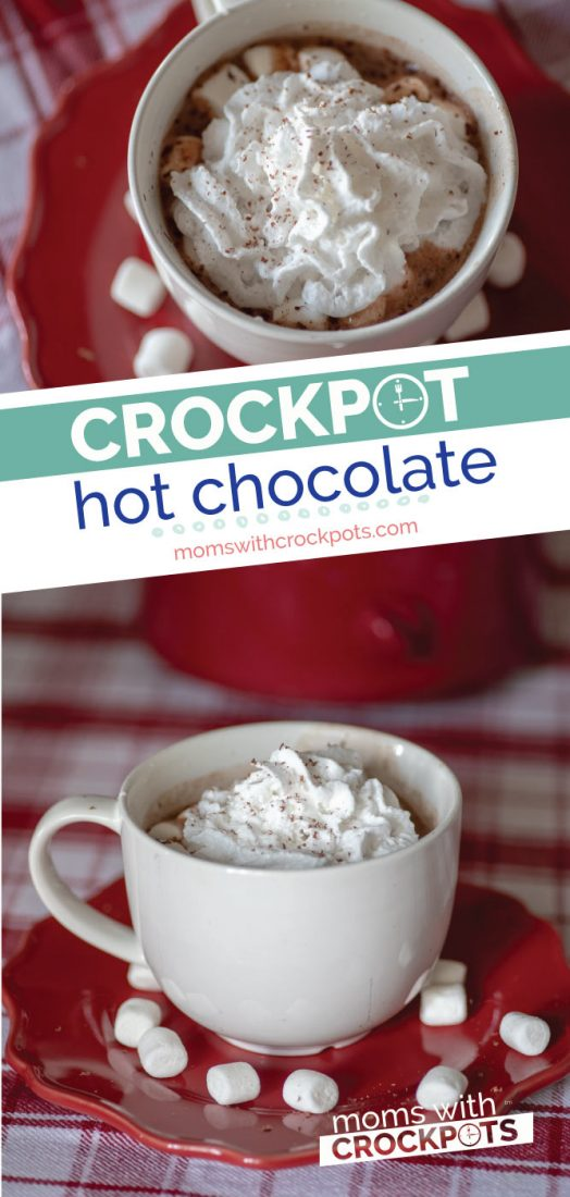 The smells of chocolate warmth will waft through the air when you make this delicious Crockpot Hot Chocolate Recipe. A perfect way to warm up on a cold winters day!  @momswcrockpots #beverage #recipe #crockpot #slowcooker #hotchocolate