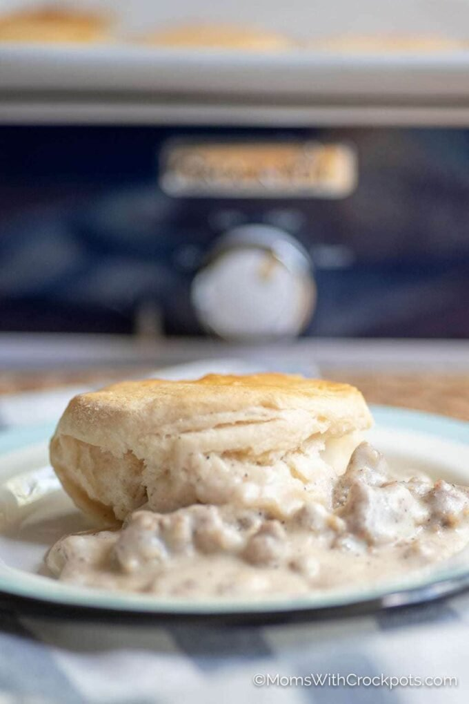 Biscuits and gravy in front of crockpot