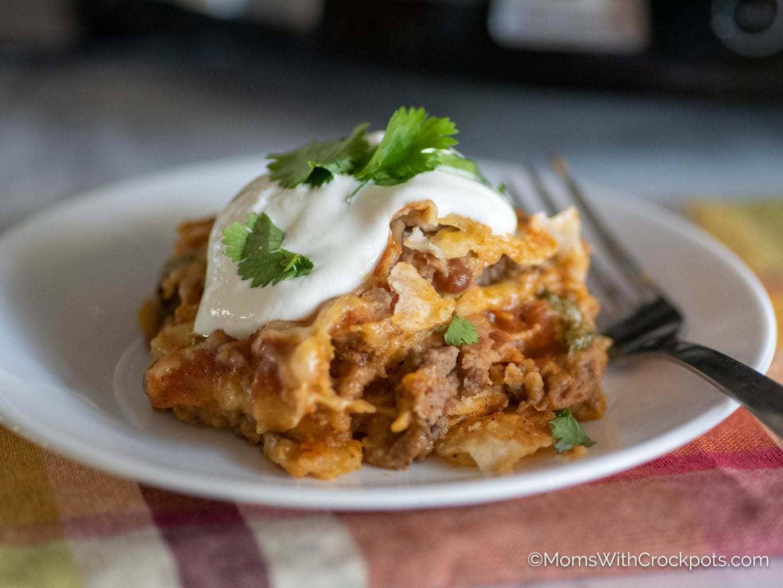 Crockpot Mexican Lasagna with tortillas